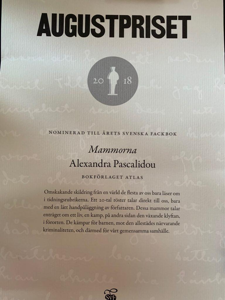 Alexandra Pascalidou nominerad till Årets Svenska Fackbok Mammorna - Augustpriset 2018